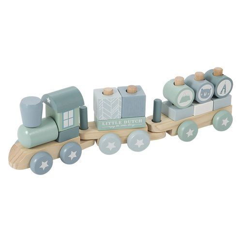 Little Dutch Holz-Eisenbahn mit Steck-Formen adventure blue